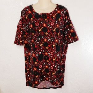 LulaRoe Irma Shirt XS High Low Black Burgundy LLR9
